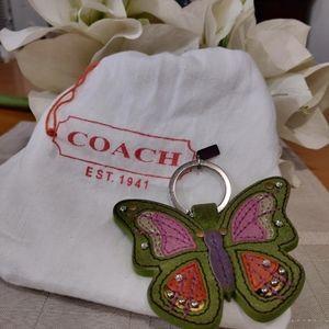 Rare Coach Butterfly Keychain Fob Purse Charm